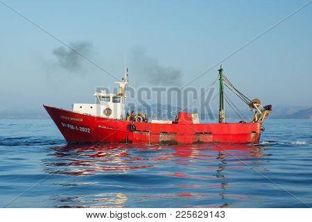 Palma, Mallorca, Spain On July 15, 2014: Fishing Ship Joven Mirmer At Sea On A Sunny Summer Morning