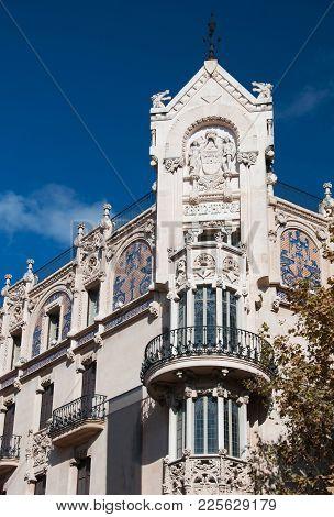 Art Nouveau Balcony On Placa Weyler 33, Formerly Gran Hotel From 1903. Palma De Mallorca, Balearic I