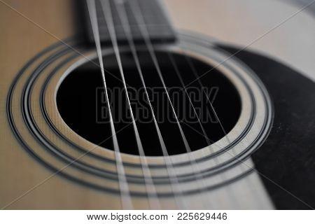 Guitar Detail Closeup Of Fret, Fretboard, Pins, Bridge Pins, Strings, Saddle, Sound Hole...