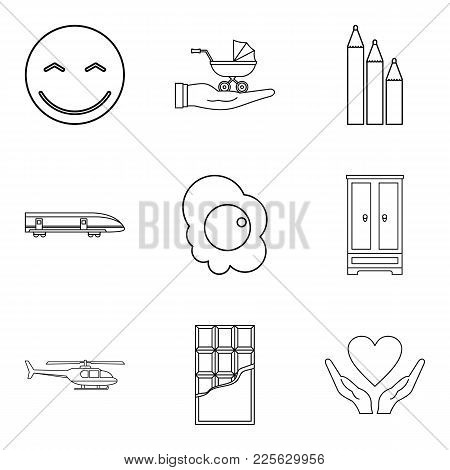 Infant School Icons Set. Outline Set Of 9 Infant School Vector Icons For Web Isolated On White Backg