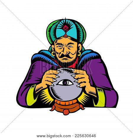 Retro Woodcut Style Illustration Of Fortune Teller, Medium, Psychic, Mystic,seer, Soothsayer Or Clai