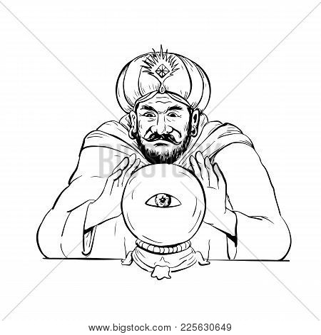 Drawing Sketch Style Illustration Of A Fortune Teller, Medium, Psychic, Mystic,seer, Soothsayer, Cla