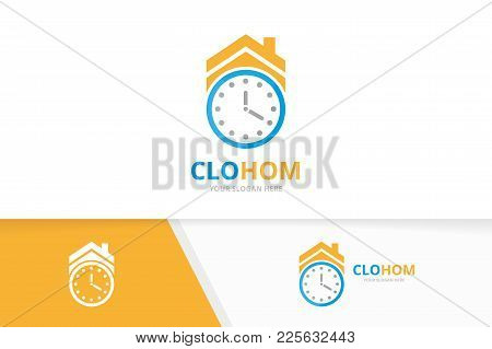 Vector Clock And Real Estate Logo Combination. Time And House Symbol Or Icon. Unique Express And Ren