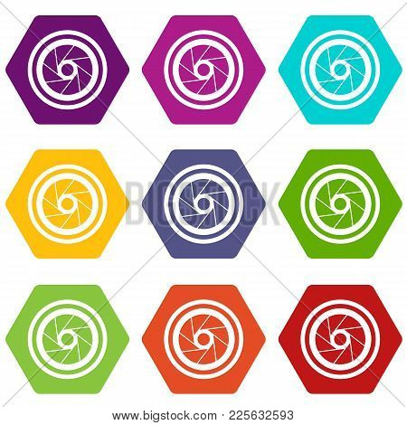 Big Objective Icon Set Many Color Hexahedron Isolated On White Vector Illustration