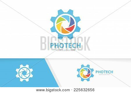 Vector Camera Shutter And Gear Logo Combination. Lens And Mechanic Symbol Or Icon. Unique Photo And