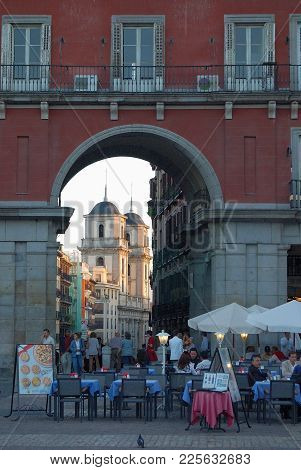 Diners On Plaza Mayor With A View Towards Toledo Street (calle De Toledo) - Madrid, Spain, 28 Septem
