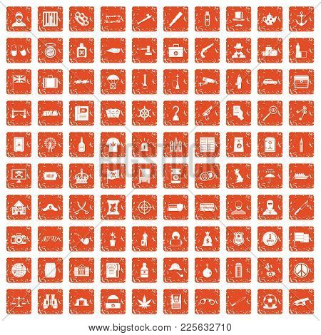 100 Offence Icons Set In Grunge Style Orange Color Isolated On White Background Vector Illustration