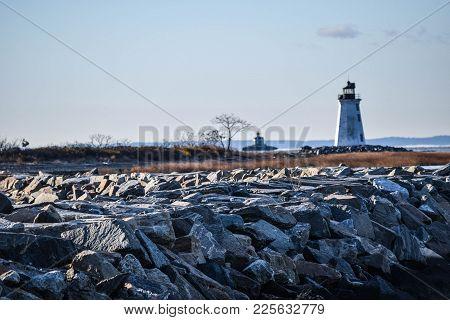 Lighthouse Off Seaside Park In Bridgeport Connecticut