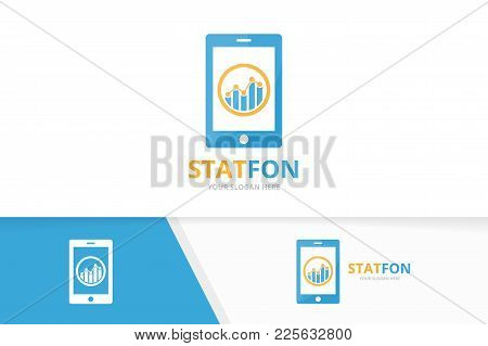 Vector Graph And Phone Logo Combination. Diagram And Mobile Symbol Or Icon. Unique Chart And Device
