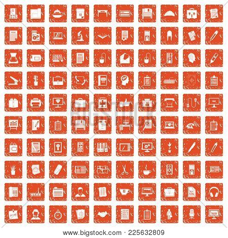 100 Office Icons Set In Grunge Style Orange Color Isolated On White Background Vector Illustration