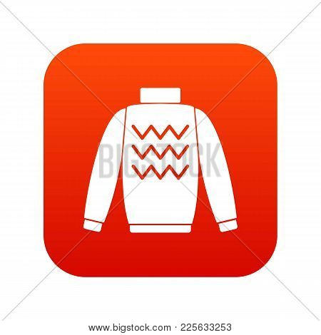 Pullover Icon Digital Red For Any Design Isolated On White Vector Illustration