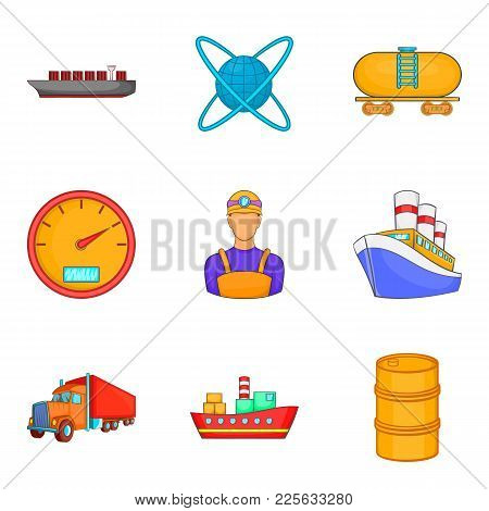 Oil Industry Icons Set. Cartoon Set Of 9 Oil Industry Vector Icons For Web Isolated On White Backgro