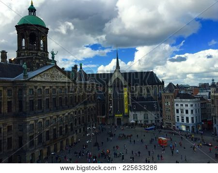 Dam Square, Amsterdam, Netherlands. Photo Taken On September 2nd, 2015. Dam Square Is The Largest An
