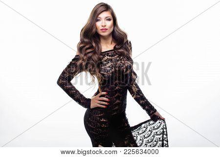 Elegant Brunette Lady Posing.