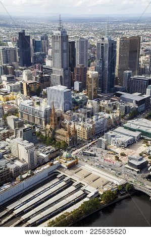 Melbourne, Australia: March 30, 2017: Melbourne Cityscape. View Of Flinders Street Station And Feder