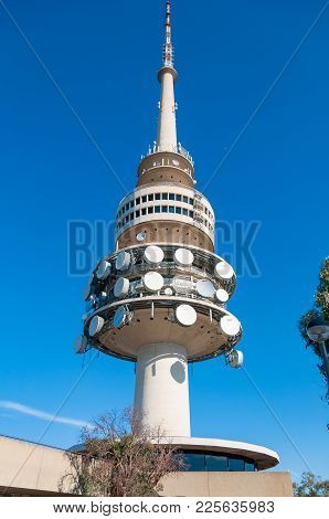 Canberra, Australia - March 7, 2009: Telstra Tower Or Telecom Tower With Satellite Dishes Close Up