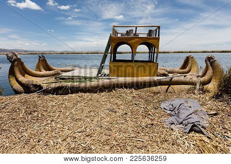 Traditional Reed Boat (totora) In The Uros Islands, Titicaca Lake Or Titikaka Lake, Peru, South Amer