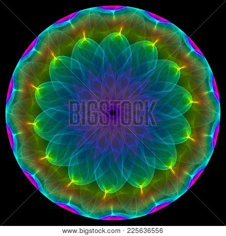 mandala type colorful symbol, intricate details