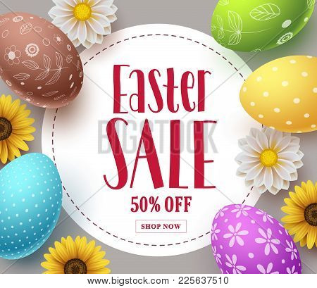 Easter Sale Vector Banner Template Design With Colorful Eggs, Spring Flowers And Sale Text In White