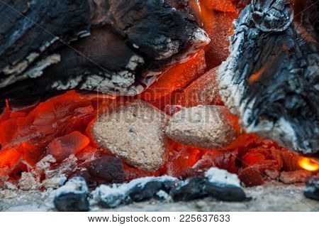Close Up Of Glow Of Embers, Burning Embers, Charcoal, Coal And Wood In A Fite