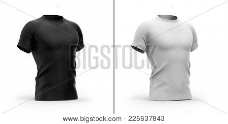 Shadows and highlights 3D renders mock-up templates.  Men's t shirt with round neck and short raglan sleeves. Included clipping paths (whole object, collar, sleeves).