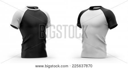Men's t shirt with round neck and raglan sleeves. Half- front view. 3d rendering.  Isolated on white background.