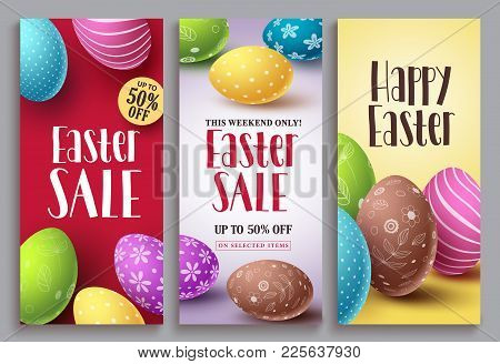 Easter Sale Vector Poster Set With Colorful Eggs Elements For Retail Discount Promotion. Easter Back