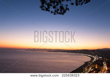 Nice Beach Night Landscape, France.  Nice Beach And Famous Walkway Of The English, Promenade Des Ang