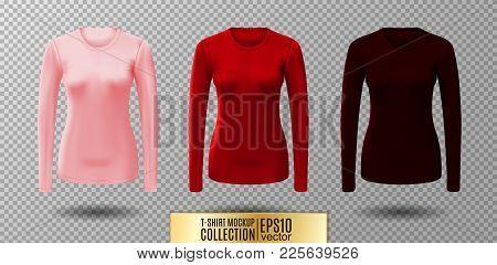 Long Sleeve Blank Shirt. Vector Pink, Red And Vinous Shirt Mockup.