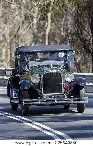 Adelaide, Australia - September 25, 2016: Vintage 1925 Dodge D Utility (ute) Driving On Country Road