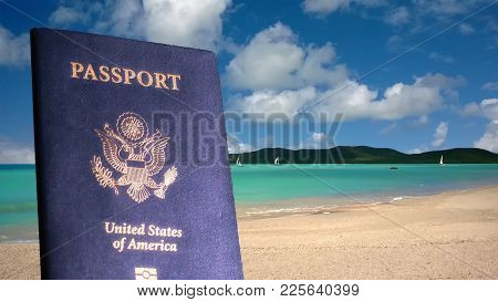 United States Passport On Tropical Beach Location