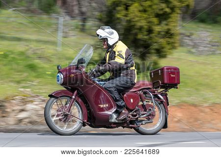 Adelaide, Australia - September 25, 2016: Vintage 1954 Bsa Bb 33 Motorcycle On Country Roads Near Th