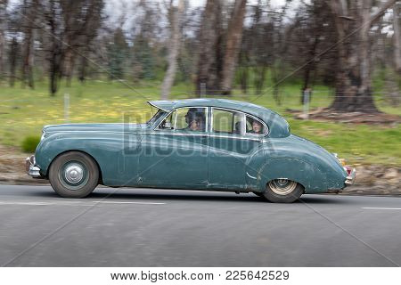 Adelaide, Australia - September 25, 2016: Vintage 1953 Jaguar Mk Vii Sedan Driving On Country Roads