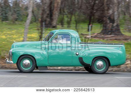 Adelaide, Australia - September 25, 2016: Vintage 1952 Holden Fx Utility Driving On Country Roads Ne