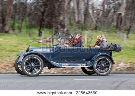 Adelaide, Australia - September 25, 2016: Vintage 1918 Dodge Tourer Driving On Country Roads Near Th