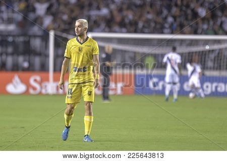 Rio, Brazil - February 07, 2018: Pedro Morales Player In Match Between Vasco And Universidad De Conc