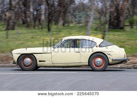 Adelaide, Australia - September 25, 2016: Vintage 1956 Jensen Driving On Country Roads Near The Town