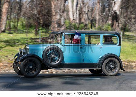 Adelaide, Australia - September 25, 2016: Vintage 1928 Delage D.i.c Saloon Driving On Country Roads