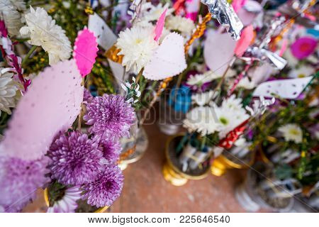 Fake Flower With Stick In The Tray For Donate In Temple As Per The Belief Of Buddhist In Thailand