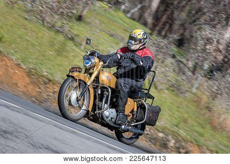 Adelaide, Australia - September 25, 2016: Vintage 1956 Bsa Golden Flash Motorcycle On Country Roads