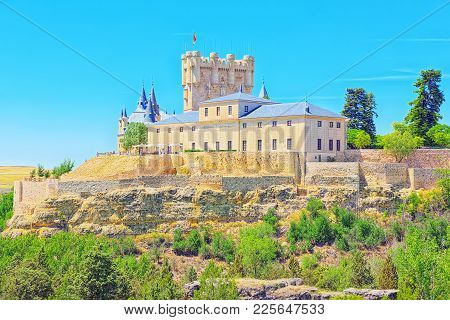 Panoramic Landscape At The Ancient City Segovia, Alcazar Of Sego