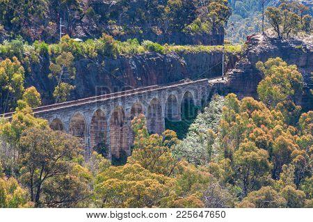 View On Old Historic Railway Viaduct. Blue Mountains, Australia