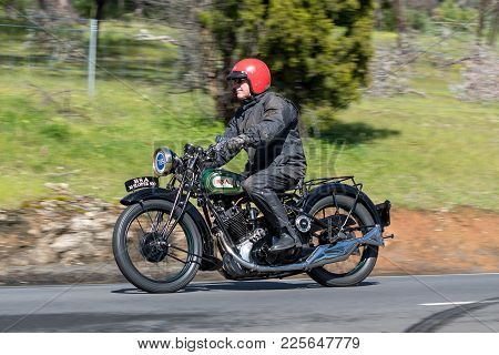 Adelaide, Australia - September 25, 2016: Vintage 1930 Bsa S30 Motorcycle On Country Roads Near The