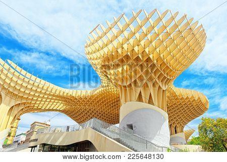 Metropol Parasol Is A Wooden Structure Located At La Encarnacion