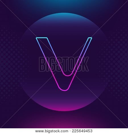 Vechain Ven Vector Outline Icon. Cryptocurrency, E-currency, Payment Crypto Currency, Blockchain But
