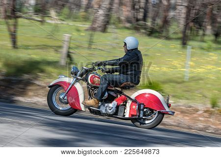 Adelaide, Australia - September 25, 2016: Vintage Indian Motorcycle on country roads near the town of Birdwood, South Australia.