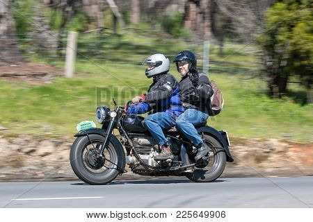 Adelaide, Australia - September 25, 2016: Vintage 1949 Sunbeam S7 Motorcycle on country roads near the town of Birdwood, South Australia.