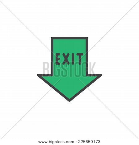 Emergency Exit Pointer Filled Outline Icon, Line Vector Sign, Linear Colorful Pictogram Isolated On