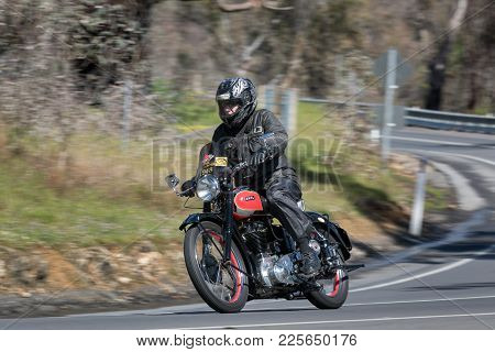Adelaide, Australia - September 25, 2016: Vintage Ariel Motorcycle on country roads near the town of Birdwood, South Australia.