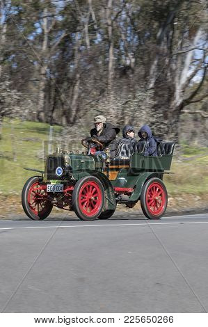Adelaide, Australia - September 25, 2016: Vintage 1929 Willys Whippet Tourer driving on country roads near the town of Birdwood, South Australia.